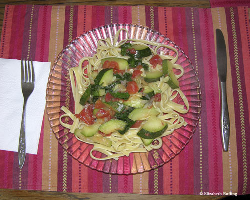 Zucchini, parsley, onion, tomatoes, and fettuccine