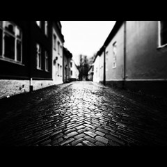 Stories from the City, Part VI (Christer Johansen) Tags: street leica blackandwhite bw wet rain norway bricks explore trondheim frontpage dlux4
