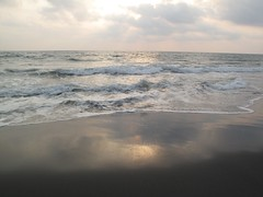 Black beach reflection, Varkala