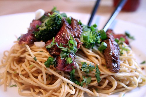 Asian Noodles with Pan-Seared Flank Steak