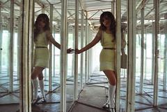 houseofglass (yyellowbird) Tags: reflection abandoned glass girl twins mirrors maze amusementpark cari tyjon