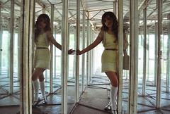 houseofglass (yyellowbird) Tags: reflection abandoned glass girl twins mirrors maze amusementpark cari tyjon