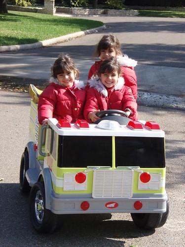 triplets in firetruck