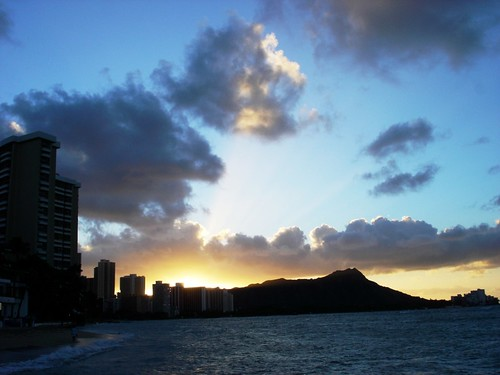 Sunrise over Diamond Head and Waikiki Beach, Oahu