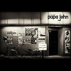 """""""Jazz and Enka"""" - Papa John (tk21hx) Tags: blackandwhite bw bicycle japan poster sigma yokohama kanagawa papajohn noge dp2 silverefexpro sigmadp2"""