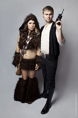 Chewie & Han (Corinne Alexandra) Tags: portrait sexy halloween girl photoshop self canon star costume solo 5d wars chewie han chewbacca markii lseries 24105mm stuckwithpins