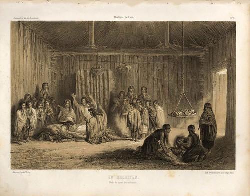 004-Un Machitun modo de curar a los enfermos-Atlas de la historia física y política de Chile-1854-Claudio Gay