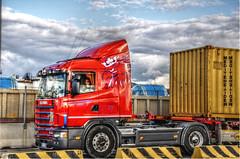 Leone Trasporti (M*LoW - Massimo) Tags: red colors clouds photoshop truck nikon nuvole harbour container camion cielo rosso hdr postprocessing civitavecchia d90 gimp2 qtpfsgui