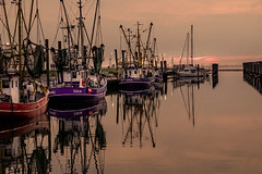 In the evening (Rainer D) Tags: 2017 dorum wursternordseeküste niedersachsen deutschland north nordsee boat outdoor evening night sunset blue red light sundown atmosphere scenery noperson
