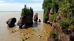 Kayakers at the Hopewell Rocks (TheNovaScotian1991) Tags: newbrunswick bayoffundy kayak hightide hopewellrocks water samsunggalaxys6edge landscape cameraphone smartphone seastacks