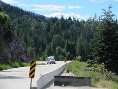 Then this guy almost ran me down (trilliumgirl) Tags: kootenay lake bc british columbia canada trees road camper