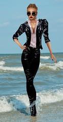 Wet Black Jeans and Leather (SoakinJo) Tags: soakinjo soakin jo wet wetlook wetclothes wetclothing imvu highheels stilettos wetjeans wetleather clothedinthesea