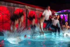 Three, two, one, go! (PeterThoeny) Tags: landquart graubünden graubunden grisons wedding weddingparty party crazy joy joiedevivre cheerful enjoymentoflife pool swimmingpool jump clothes water wet motion motionblur blur red blue sony sonya7 a7 a7ii a7mii alpha7mii ilce7m2 vintagelens dreamlens canon50mmf095 f095 canon 1xp raw photomatix hdr qualityhdr qualityhdrphotography fav100