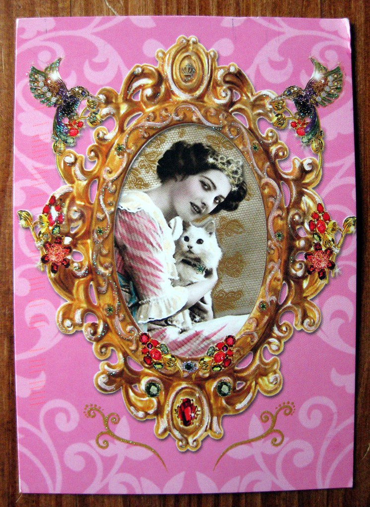 Bejeweled princess kitty postcard