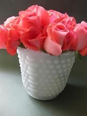Hobnail (jenscloset) Tags: china red fruit vintage mugs coin bowl collection cups plates elegant creamer fostoria pinkrose hobnail fireking milkglass whitevase aquaandgold