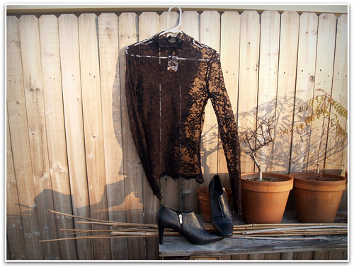 savers: lace shirt and ankle boots