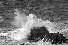 A big splash in the New Year (NRG Photos) Tags: sea wild blackandwhite storm france nature frankreich brittany rocks meer waves natur bretagne spray felsen wellen sturm schwarzweis gischt pointeduvan begarvann