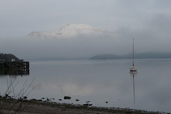 Luss Pier (b16dyr) Tags: mountain snow reflection water landscape scotland loch lochlomond luss