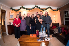 Christmas Day - Day 132, Year 2 (purplemattfish) Tags: christmas family portrait group fisheye meal project365 zenitar16mmf28