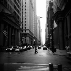 Downtown (Kerrie McSnap) Tags: city blackandwhite bw chicago 120 film architecture buildings mediumformat square illinois holga lomo lomography downtown toycamera theloop citystreet kodaktrix400 kodaktx400