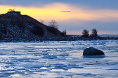 Winter sunset (Hkan Dahlstrm) Tags: winter sunset sea sky ice beach water yellow strand jaune sweden schweden playa amarillo gelb giallo sverige geel plage spiaggia gul 2010 resund sude svezia barsebck skanelan barseback