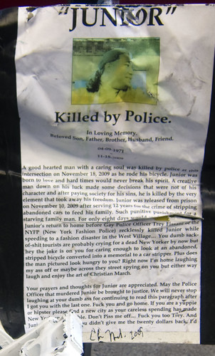 East Village: Prank Ghost Bike Memorial