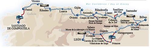 Route Map - El Transcantabrico luxury train, Santiago de Compostela to Leon