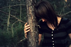 Giving Up (Krista Strandy) Tags: trees portrait green buttons stripes depression givingup
