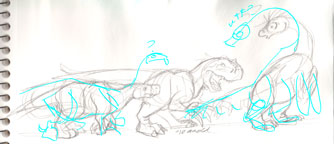 """Therizinosaurs Through the Years"" blue sketch"