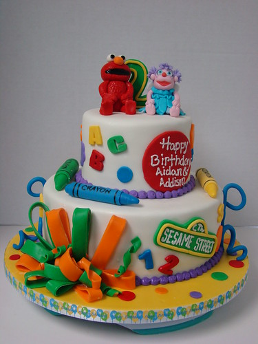 Elmo and Abby Birthday Cake