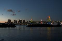 raibow bridge night02 (Koyashle) Tags: bridge urban nature water japan architecture island tokyo bay rainbow odaiba embankment
