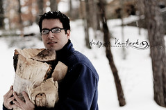 I {heart} him!! (Arlyne VanHook Photography) Tags: wood love nikon husband snowing d300s logsforfire