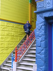 San Francisco Mailman (moonjazz) Tags: sanfrancisco california travel blue red house color colour home up yellow work fun paint pretty steps victorian neighborhood haightashbury delivery between mailman cheerfull