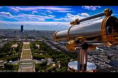 Birds Eye View | Eiffel, Paris (Aditya Bhelke) Tags: paris geotagged nikon europe tour eiffeltower telescope 75007 1855 2009 birdseyeview champsdemars tourmontparnasse d40 geo:lat=48858277 geo:lon=2294511