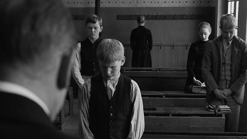 Creepy children stand around being creepy in 'The White Ribbon'.