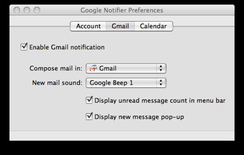 Google Notifier Preferences