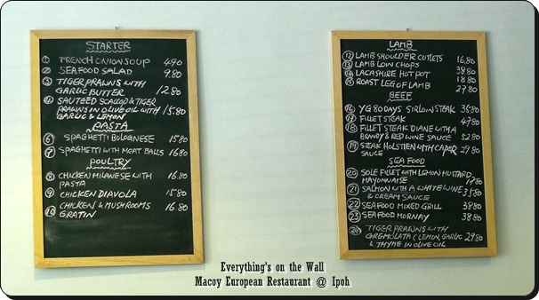 Menu on Blackboards