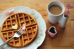i love breakfast (sevenworlds16) Tags: pink breakfast bacon maple iron heart tea style belgian syrup waffle