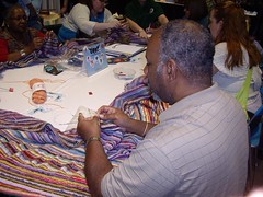 One of many male knitters who stepped up to the plate