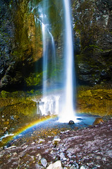 Comet & Prism (El Justy) Tags: light summer sun color nature colors pool beauty sunshine reflections landscape outdoors landscapes waterfall washington rainbow scenery image gorgeous waterfalls mountrainiernationalpark pacificnorthwest handheld capture base milakunis cometfalls piercecounty lowflow justinrice vantrumpcreek riceimages