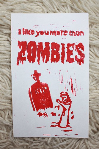 """I like you more than ZOMBIES"" Valentine"