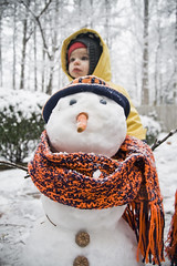 Snowman for Abby (crashmattb) Tags: atlanta snow cold girl georgia outside snowman toddler day abby daughter abigail marietta february 2010 canoneosdigitalrebelxti sigma1770mmf2845dc photoshopcs3 abigailjaclyn
