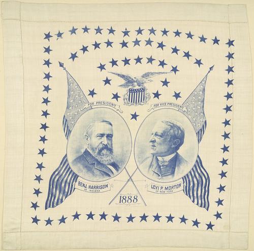 "Benjamin Harrison-Morton ""1888"" Portrait Handkerchief"