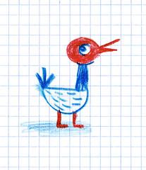 Peep! (maralina!) Tags: blue red bird art notebook rouge book sketch drawing sketchbook jeunesse chick bleu doodle childrens oiseau croquis carnet graphpaper fledgeling gribouillage
