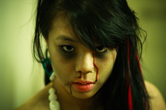 099. The Sickness (prenetic) Tags: pink red portrait white black liz girl face yellow night hair asian nose necklace dance scary blood eyes elizabeth zombie makeup iowa lips prom ames shoulders shoulder vignette riz lizzy gelatin rizzy
