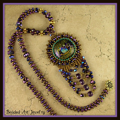 Purple Passion Necklace (Beaded Art Jewelry) Tags: crystals handmade jewelry beadwork dichroicglass beadembroidery beadedjewelry beadwoven