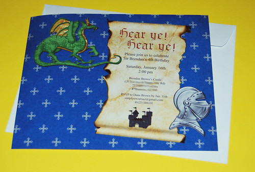 Knights and Dragons 4th Birthday Invitation