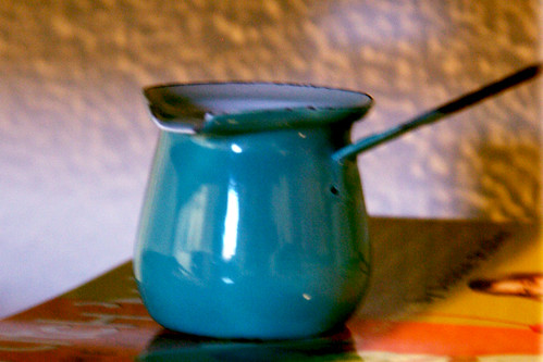 Tiny Enamelware Turkish Coffeepot - Aqua