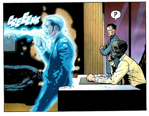 "It's Li's ""?"" that completes this amazing panel. Black Mask appears to be contemplating lint or something equally exciting"