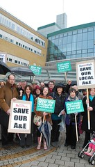 Lynne Featherstone, Robert Gorrie and others protesting against proposals to end A+E at the Whittington